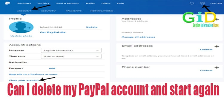 Can I delete my PayPal account and start again
