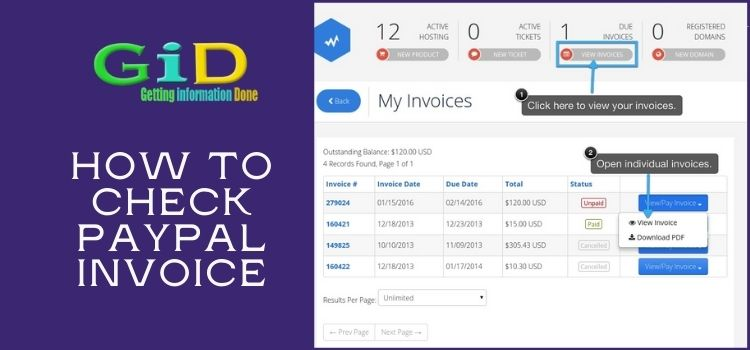 How to check Paypal invoice