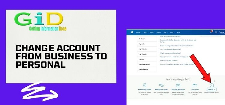 Change account from business to personal