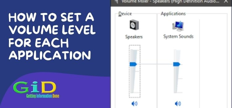 How to set a volume level for each application