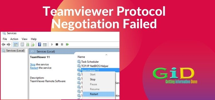 Teamviewer Protocol Negotiation Failed