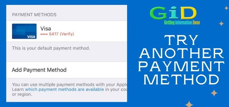 Try Another Payment Method