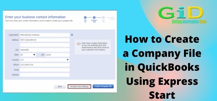How to Create a Company File in QuickBooks Using Express Start